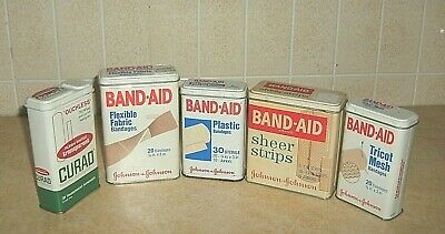 5 Vintage Advertising Tins Band Aid Johnson & Johnson & Curad Usa