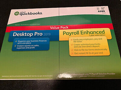 New sealed Intuit QuickBooks Desktop Pro 2019 with Payroll 1 Yr, 1 User, PC Disc