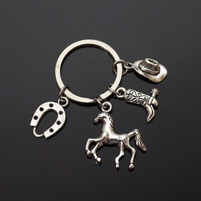 Cowboy Cowgirl Hat Boot Spur Horseshoe Horse Western Silver 4-Charms Keychain