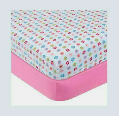 Garanaimals 2-Pack Fitted Crib/Toddler Bed Cotton Sheets Pink & Floral Print NEW