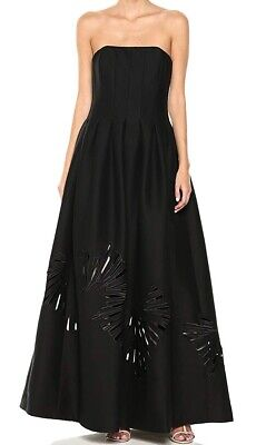 Halston Womens Dress Black US 6 Cutout Structure Strapless Prom Gown $795 #377