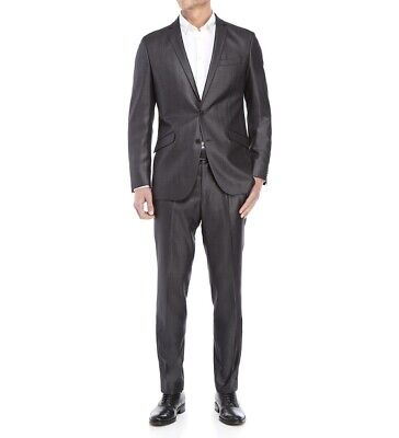 Unlisted Kenneth Cole Grey Charcoal Gunmetal Basketweave Suit 42R 35w 32L Silver