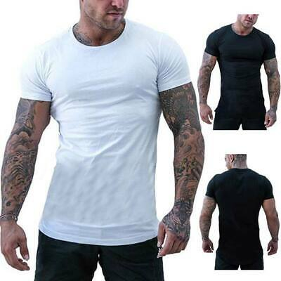 Men's summer short sleeve tops casual t shirts o neck muscle tee slim fit blouse