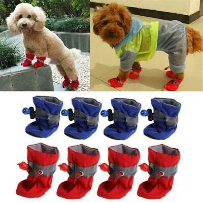 4Pcs Waterproof Warm Pet Non-slip Shoes Winter Dog Cat Snow Boots Puppy Booties