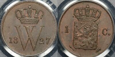 Netherlands 1827 1 Cent PCGS MS62BN Uncirculated