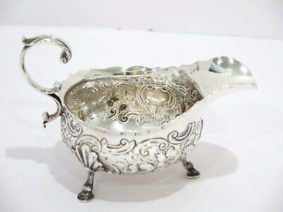 6 3/8 in - Sterling Silver Antique English Floral Footed Sauce Boat