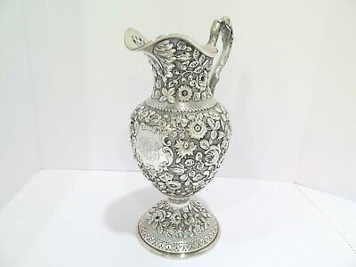 """13.75"""" Sterling Silver A. G. Schultz & Co. Antique c 1899 Repousse Water Pitcher"""