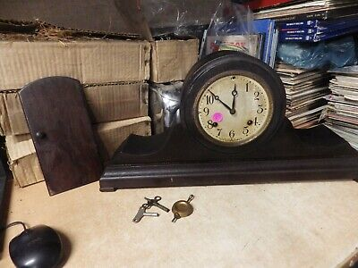 Antique New Haven Clock Co. Mantle Clock W/ Weights Keys For Parts Repair Brass