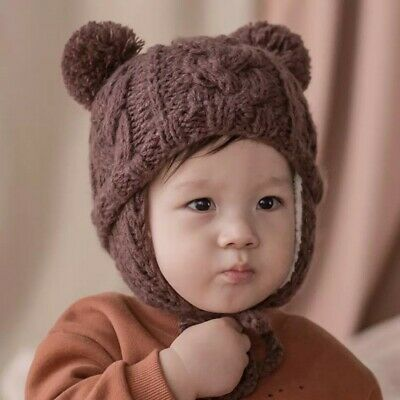Newborn Baby Girl Boy Winter Warm Hats Kids Infant Knitted Cute Caps With Ball