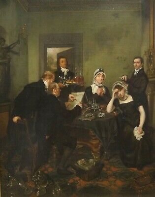 Large 19th Century English Interior Reading Of The Will Antique Oil Painting