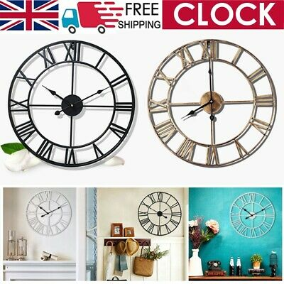 EXTRA LARGE ROMAN METAL WALL CLOCK 16/24in NUMERALS OPEN FACE HOME GARDEN ROUND