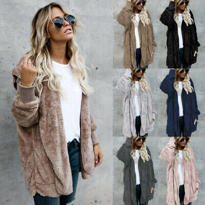 UK Womens Fleece Fur Ladies Fluffy Cardigan Hooded Coat Jacket Teddy Bear Tops
