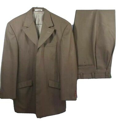 Stacy Adams Mens 2 Pc Suit Blazer Trousers Brown Notch Lapel Angled Pockets  38