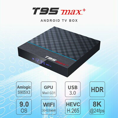 T95 MAX Plus + Smart Android 9.0 TV BOX Amlogic S905X3 4G RAM Wifi Set Top Box