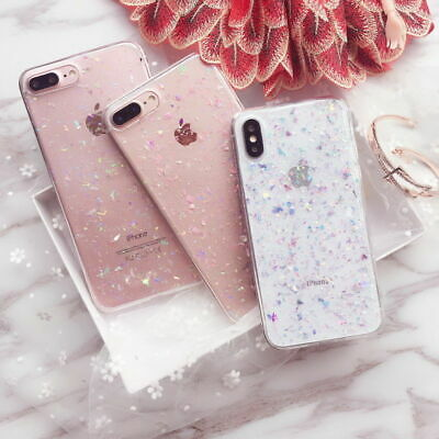 Bling Glitter Soft TPU Silicone Clear Case Cover iPhone 6S 7 Plus 8 XR XS Max