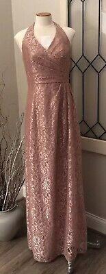 Davids Bridal Formal Bridesmaid One Shoulder Dress Rose Gold