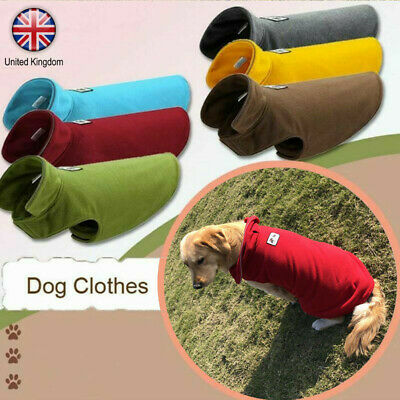 Warm Pet Dog Coat Fleece Jacket Jumper Sweater Hoodie Winter Protector Outfit UK