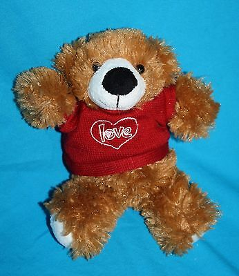 """Galerie Valentines Day TEDDY BEAR 9"""" Brown Plush Target Red Heart Love Sweater"""