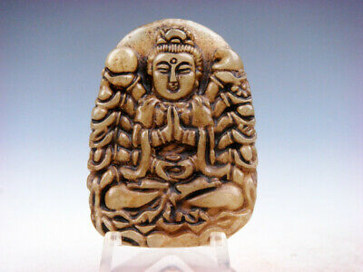 Old Nephrite Jade Hand Carved *Thousand Arms Kwan-Yin Buddha* Pendant #10221906