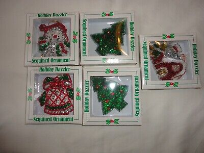 5 Giftco Inc Holiday Dazzler Sequined Soft  Christmas Ornaments Vtg NIB