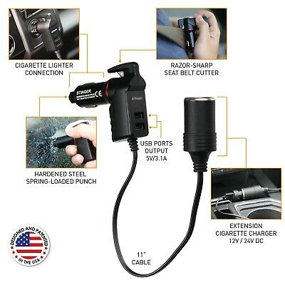 Stinger USB Car Charger Emergency Escape Tool Cigarette Lighter Extension Cord
