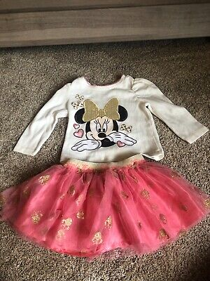 DISNEY Baby Girls Minnie Mouse Tutu outfit 12m Infant Toddler