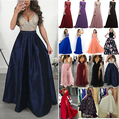 Womens Sequin Bridesmaid Wedding Long Skater Dress Formal Evening Cocktail Party
