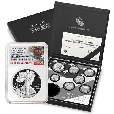 2019-S Proof $1 Silver Eagle Limited Edition NGC PF70UC Trolley ER Label + 7 Coi
