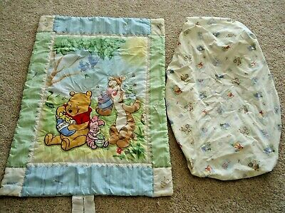Vintage Winnie the Pooh Crib Blanket and Fitted Sheet