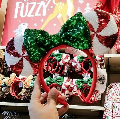 Disney Christmas 2019 Red White Swirl Peppermint Candy Cane Minnie Ears Headband