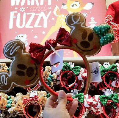 Disney Parks 2019 Happy Holidays Mickey Minnie Gingerbread Cookie Ear Headband