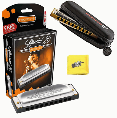 Hohner Special 20 Progressive Harmonica with Free Pouch and Cloth - Key of A