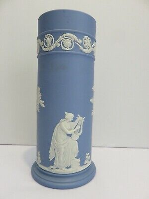 "Vintage Wedgwood Jasperware Vase Blue & White 6.5"" Beautiful Grecian Design"