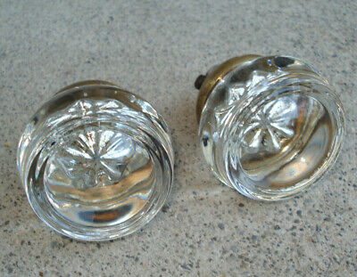 Antique Or Vintage Clear Glass Crystal ROUND CIRCLE Victorian Door Knob Set