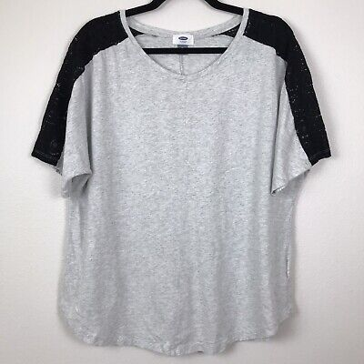 Old Navy Short Sleeve Lace Sleeve Top Size XL Gray Black H28
