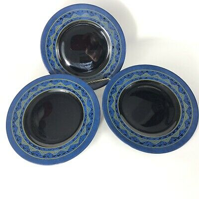 Set of 3 Arcoroc Yucatan Salad Plates Made In France Black Blue Tan Aztec