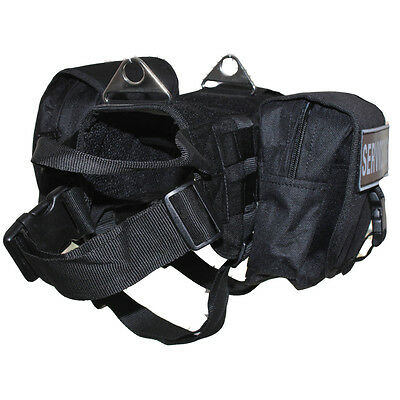 TACTICAL POLICE TRAINING DOG VEST HARNESS Removable Side Bags & label Patches