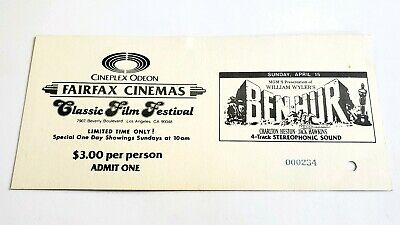 Vintage Hollywood Cineplex Odeon Classic Film Ticket #2 - Ben Hur