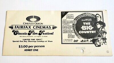 Vintage Hollywood Cineplex Odeon Classic Film Ticket #3 - The Big Country