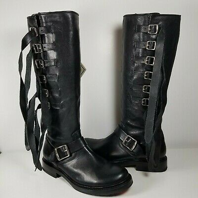 Frye women boots black leather fringes zipper knee high Veronica Tall Strap 6