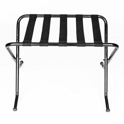 Folding Suitcase Stand Hotel Metal Travel Storage Luggage Rack Black 100 lbs