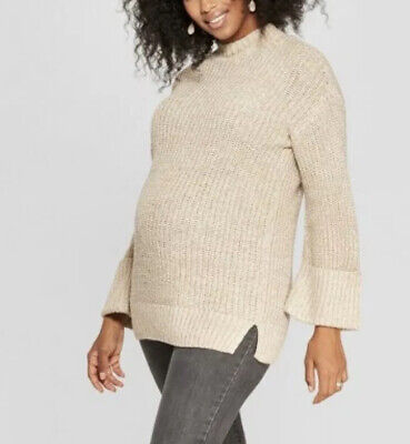 Isabel Maternity Womens Size Large Cuff Sleeve Pull Over Sweater Metallic Weave