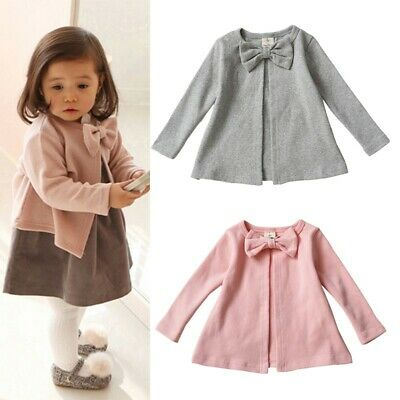 Toddler Kids Girls Baby Bowknot Cardigan Long Sleeve Outerwear Jacket Coat 0-3Y