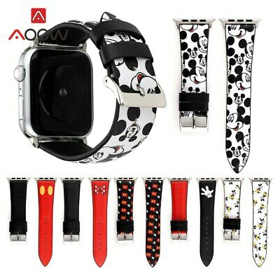 Leather Strap Band for Apple Watch 38/40 42/44 Mickey Mouse for iWatch 1 2 3 4