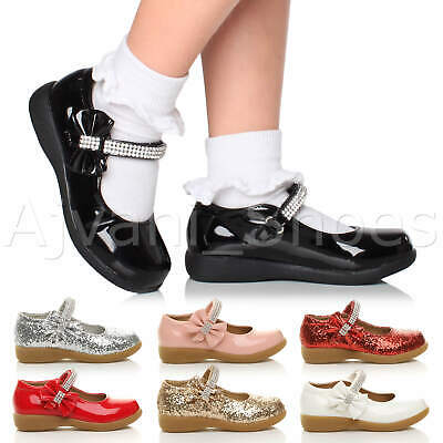 Girls Kids Childrens Low Heel Mary Jane Strap Bow Party Bridesmaid Shoes Size
