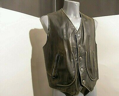 VINTAGE pure80 bikers man gilet VERA PELLE guaranteed original CUOIO aged sz M