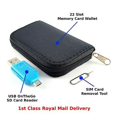 Memory Card Carry Case Wallet Pouch 22 Slots Micro USB OTG Card Reader, SIM Tool