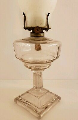 Antique 19th C. Victorian W.B.G. Corp Eldorado Glass Corinthian Column Oil Lamp