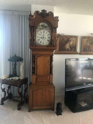 Antique 8 Day Oak Grandfather Clock Made in Wales UK By Hugh Roberts