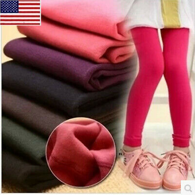 3-12Y Kids Children Girls Winter Full Length Thick Leggings Party Warm Pants SH